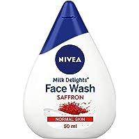 NIVEA Face Wash for Normal Skin, Milk Delights Saffron, 50 ml