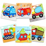 Wooden Jigsaw Puzzles 6 Pcs Vehicle Shapes Jigsaws for babys, Toddler, Kids Girls Boys Educational Montessori Learning Toys f