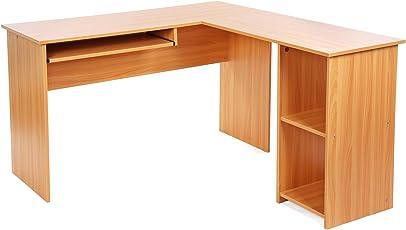 SONGMICS Schreibtisch Große Computertisch Eckschreibtisch Bürotisch PC  Tisch Mit 2 Ablagen Und Tastaturauszug