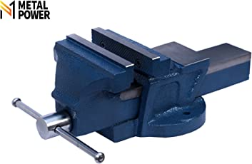 """Metal Power 125 mm (5"""") Bench Vice with Fixed Base (Blue Hammer Tone)"""