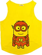 Ruse Cotton Yellow Minion Flash Printed Sleeveless Dogs Tank T-Shirt/Tees in Small