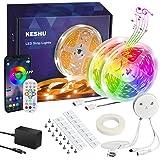 LED Strip Lights 15M KESHU Led Lights for Bedroom Led Strip Lights with Remote Bluetooth App Control Music Multiple Color Cha
