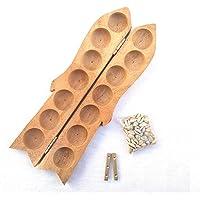 JEYAN MART Wooden PALLANGUZHI | VAMANA GUNTALU | ALIGULI Mane | MANCALA Board | Iron DICE | 70+ Shells | Traditional…