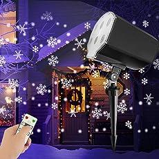 LED Projektor Lampe Weihnachten Innen Schneefall Lichteffekt Schneeflocken Weihnachtsbeleuchtung Außen mit Fernbedienung Timer, LED Projektionslampe Wasserdicht Stimmungsbeleuchtung für Halloween Karneval Geburtstag Hauswand Garten Beleuchtung