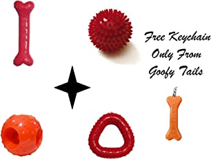 Goofy Tails Dog Rubber Chew Toy Combo of Flavored Bone, Hole Ball, Spike Ball and Trio (Red)
