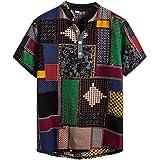 NEWISTAR Los hombres de lino Henley camisas de manga corta cuello de bandas camisa hawaiana verano casual vintage étnica Tops