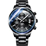 OLMECA Men's Watches Sport Fashion Casual Analog Quartz Watches Stainless Steel Chronograph Watch Waterproof Wrist Watch for