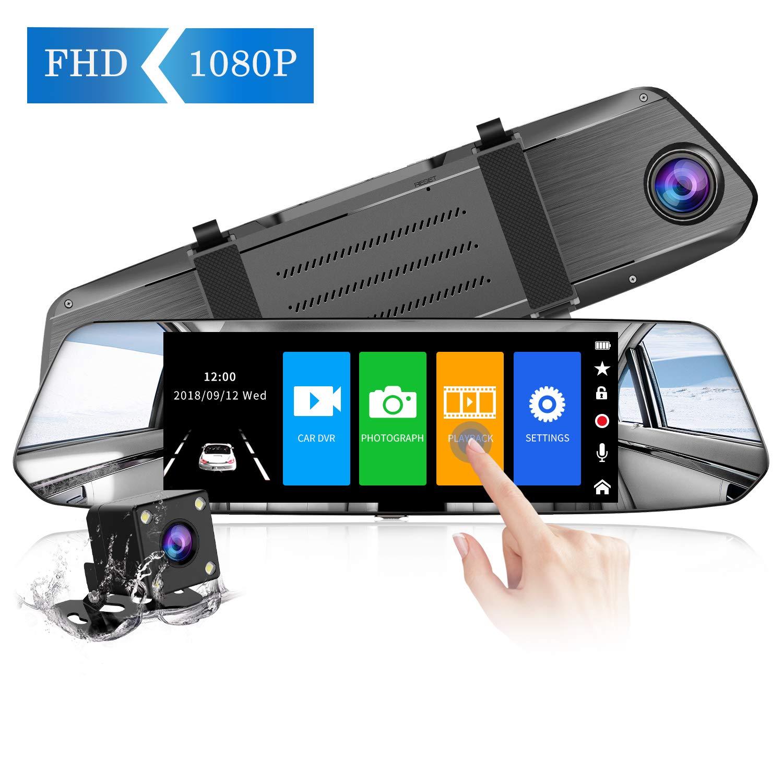 【Nuova Versione】CHORTAU Telecamera per Auto da 7 pollici Touchscreen Full HD 1080P, Telecamera Grandangolare Anteriore e Telecamera Posteriore impermeabile, con Sistema di Monitoraggio Inverso