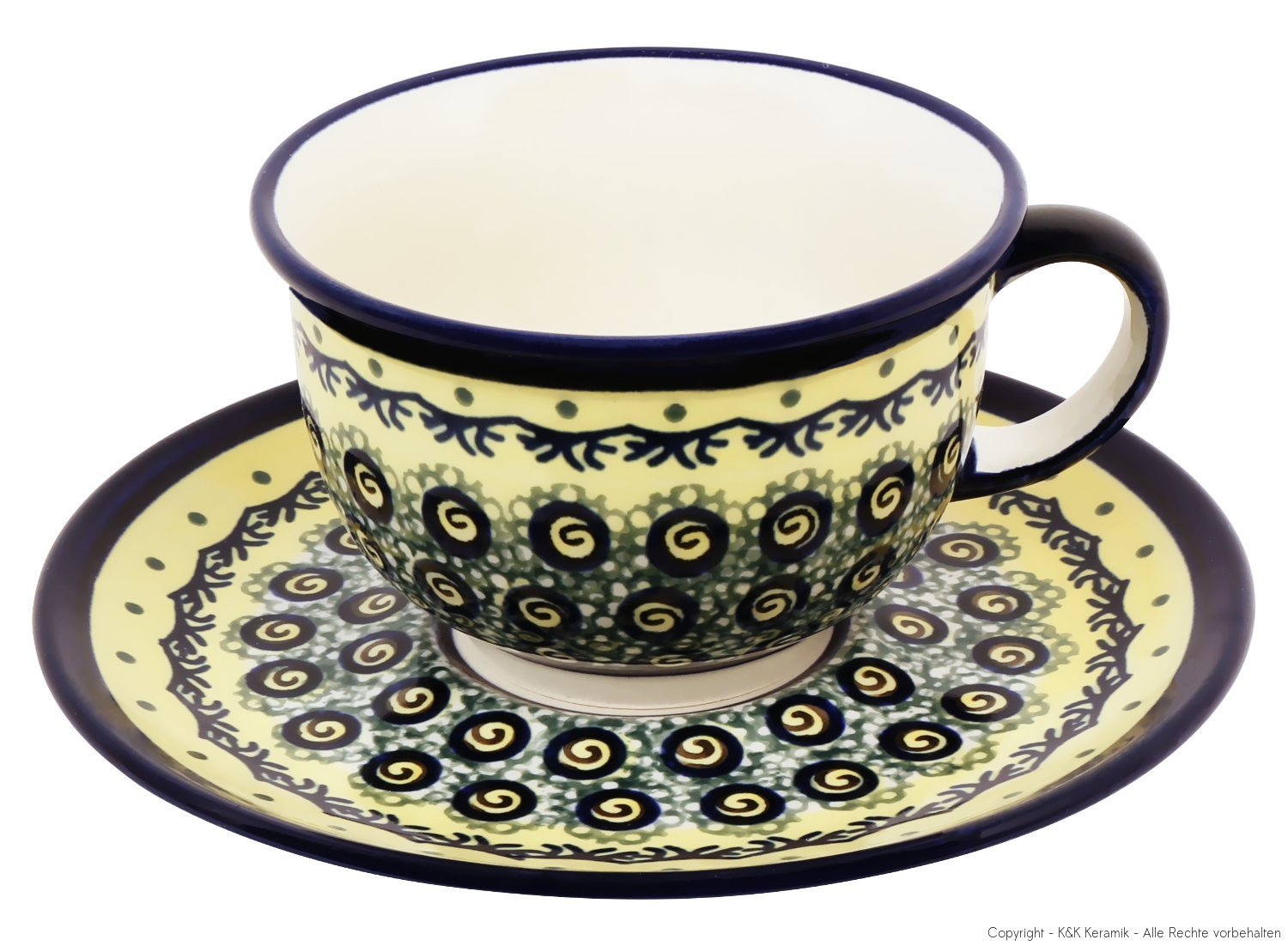 Bunzlauer Keramik Ceramic Cup and Saucer 0.2 litre Design DU1