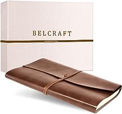 Tivoli Liscio A4 großes Notizbuch aus recyceltem Leder, Handgearbeitet in klassischem Italienischem Stil, Geschenkschachtel inklusive, Tagebuch A4 (21x30 cm) Hellbraun