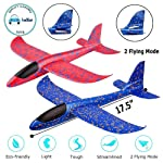 "FunBlast Airplane Toy Set of 2 - 17.5"" Large Throwing Foam Plane, Dual Flight Mode, Aeroplane Gliders, Flying Aircraft..."