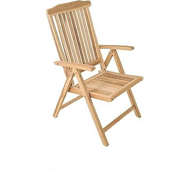 SAM Garten-Hochlehner, Teak-Holz Massiv, Klappstuhl 5-fach verstellbar, geschliffene Oberfläche, für Balkon, Terrasse