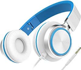 Headset, Honstek Faltbarer und Leichter on-Ear Kopfhörer, Stereo Kabelgebundenes Komfortables Headset für iPhone iPad Android Handys Computer Tablets MP3/MP4 (White/Blue)