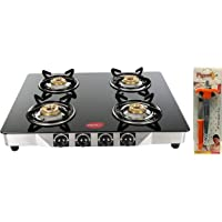 Pigeon by Stovekraft Blaze Blackline Glass 4 Burner Gas Cooktop (Black) & Gas Lighter Smart with Stand and Free 1 Knife…