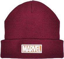 Men's Marvel Logo Winter Beanie Skullie Hat Black, Maroon & Grey Marl