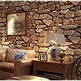 H&M Wallpaper PVC retro 3D stereo imitation stone texture wallpaper decoration bedroom TV wall living room wallpaper -53 cm (