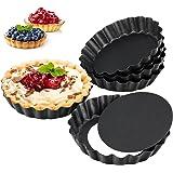 6 Pcs Molde Quiche Desmontable 10CM Quiche Tart Pan, Moldes Mini Tartaletas Individuales, Molde de Quiche de Revestimiento An