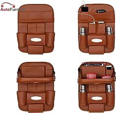 Autofurnish 3D Car Auto Seat Back Storage Bag Organizer (Tan)
