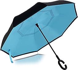 VISMIINTREND Auto Close Folding Blue Umbrella