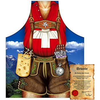 bedruckte Fun Grill Schürze - Motiv: Schweizer Mann - Spaß Grill Kochschürze Weihnachten Motivschürze Tracht Nikolaus Küche