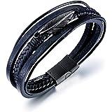 ATEIELLI Bracelet Cuir PU Noir Plume Acier Inoxydable 21cm B311
