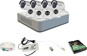 Hikvision 8 Ch HD DVR and 4 Dome -4 Bullet Camera HD Combo kit; Include All Require Accessories for 8 Camera Installation