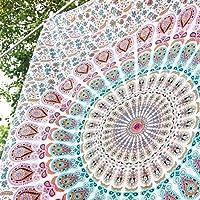 Tapiz de pared para colgar con diseño de mandala estilo hippie para el dormitorio, marca Aakriti Gallery (213,3cm x 139,7cm), 100% algodón, Rosa, 85x55 inches