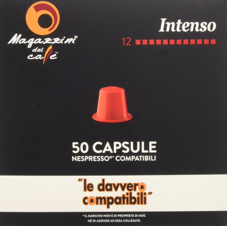 Magazzini del Caffè, 50 Capsule Compatibili Nespresso - Miscela Intenso - Intensità 12 con Retrogusto di Cioccolato… 1 spesavip