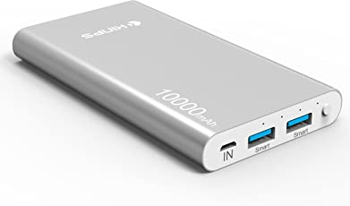 Power Bank, Kinps 10000mAh Portable Externer Akku (Dual Port, Total 5V/3.5A) with Intelligent Tech for Apple iPhone 6/6s/6 plus/6s plus,iPad,and Android Devices. (Silver)