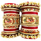 TOF Bridal Jewellery Bangles Set Gold Plated Rajasthani Chura / Punjabi Chuda Set for Wedding with Rajasthani Kundan Meenakar
