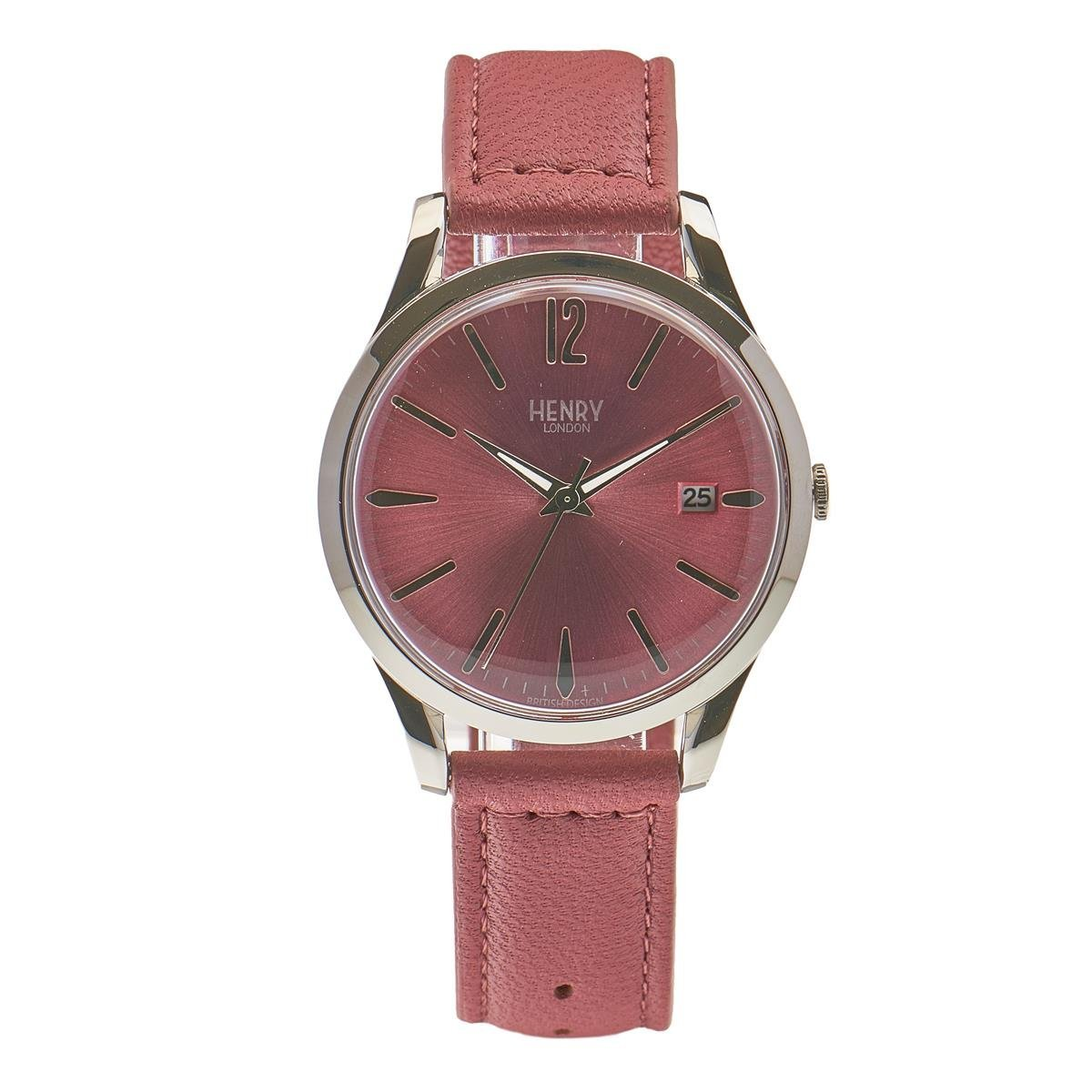 Henry London Unisex Hammersmith Quartz Watch with Pink Dial Analogue Display and Pink Leather Strap (Certified Refurbished)