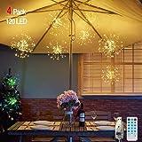 Feuerwerk Lichterketten für außen und innen,4 Stück wasserdichte led glühwürmchen lichterkettemit 4*120 LED Kupferdraht als e