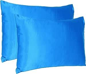 Oussum Satin 300 TC Pillow Cover, Standard - 20 x 26 Inch, Blue