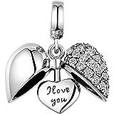 GW Love Charm Bead Lady Argento Sterling 925 Adatto per Collana e Bracciale Pandora