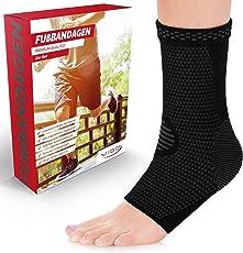 Vigo Sports® 7-Zonen Fußbandage (2 Stück) – Kompressionssocken für effektive Schmerzlinderung auch bei Fersensporn & Bänderriss –Sprunggelenk Bandage für Stabilität an Knöchel & Mittelfuß
