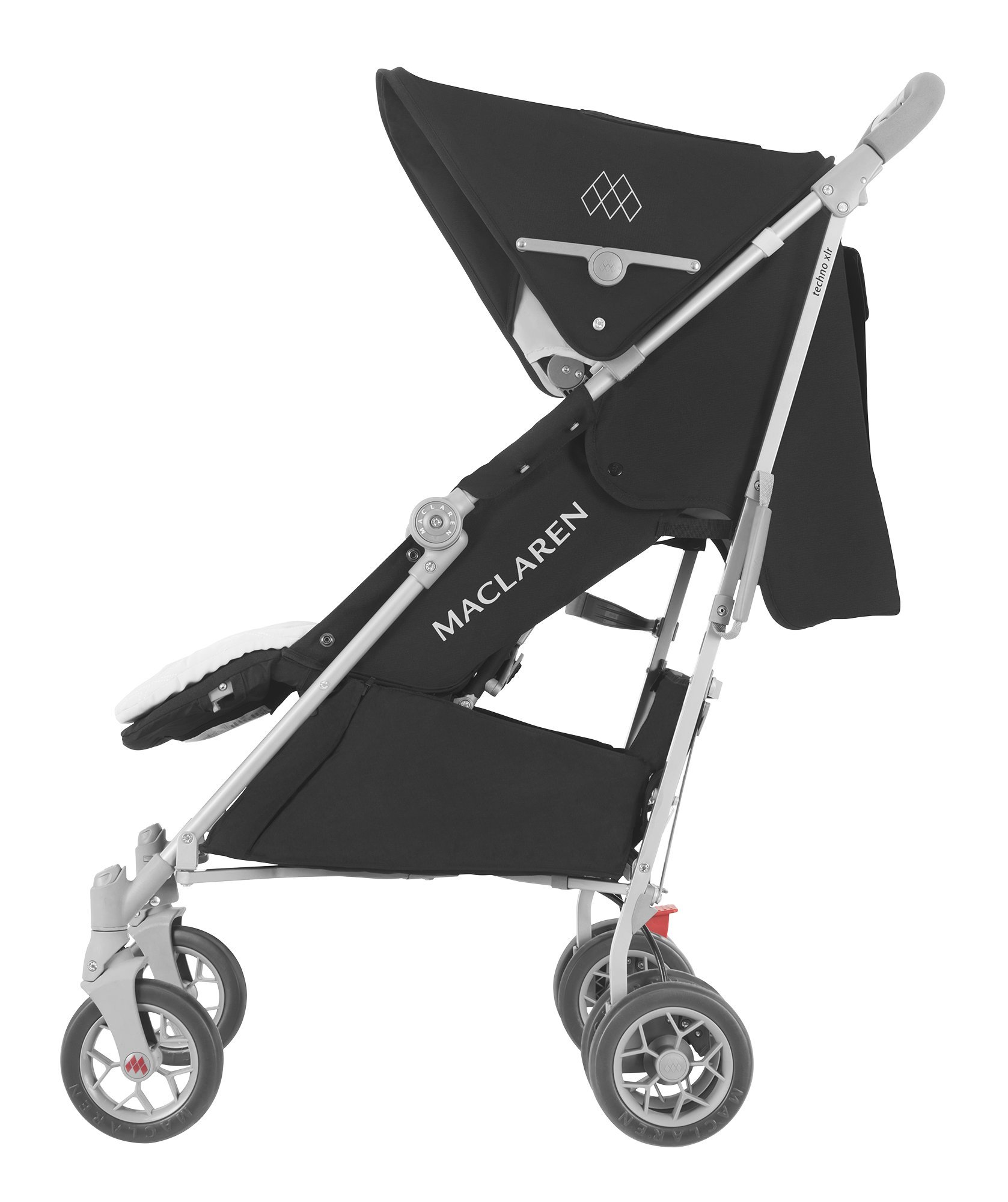 Maclaren Techno XLR arc Travel System Stroller Maclaren Basic weight of 6.7kg/14.8lb; ideal for new-borns and children up to 25kg/55lb (usa 65lb) Maclaren is the only brand to offer a sovereign lifetime warranty Extendable upf 50+ sun canopy and built-in sun visor 2