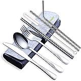 HOMQUEN Lot de 8 ustensiles de voyage et de camping en acier inoxydable avec couteau, fourchette, cuillère, baguettes, paille