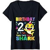 Donna Compleanno 2 Due Anni Regalo 2 Year Old Baby Shark Birthday Maglietta con Collo a V