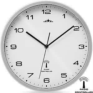 Deuba Monzana Wall Clock Radio ø 31 Cm Large White Silver Automatic Time Change Low Noise Modern Radio Controlled Wall Clock Clock Amazon Co Uk Kitchen Home