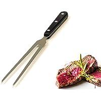 Kerafactum reg   forchettone per carne e arrosto  per barbecue  lungo  in acciaio inox  con manico in legno  lavabile in lavastoviglie