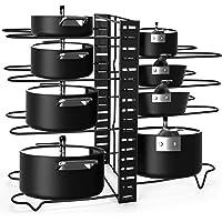 Alliebe 8 Tiers Pot and Pan Rack Organizer Holder pour couvercle de pot et casseroles avec 3 méthodes de bricolage