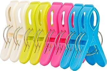 Ipow 8 Stück große Wäscheklammern Kunststoff Clips Quilt Clips für tägliche Wäsche, großes Strandtuch, schwere Badetuch, dicke Teppich etc.