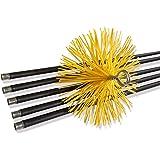 Kit de ramonage conduits gainés | Brosse hérisson synthétique | Diamètre 150 mm | 7 mètres en 5 cannes de 1,40 m | Cheminées