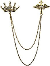 Knighthood Crown Wing With Hanging Chain Lapel Pin/Collar Pin/ Shirt Stud For Men