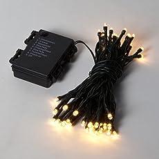 Lichterkette 5m, batteriebetrieben 50weiße LEDs mit Option Timer von Festive Lights