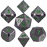 SIQUK Dadi in Metallo Poliedrico 7-Die, Numeri in Metallo Verniciato Nero Lucido e Verde Scuro Dadi in Lega di Zinco con Cust
