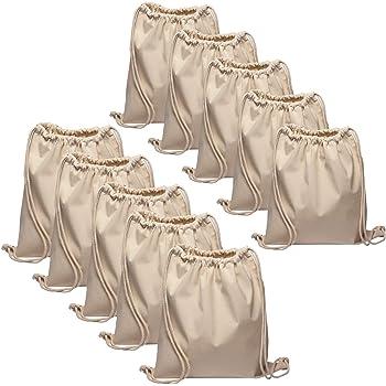 Baumwollbeutel 10 Stück 38x42cm Sportbeutel - Rucksack Stofftasche Turnbeutel Bag, Beutel, Baumwollbeutel, Jutebeutel OEKO-TEX® zertifiziert Stoffbeutel Einkaufsbeutel Gym Sac Sack zum bemalen