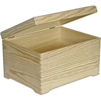 Creative Deco XXL Extra Large Wooden Chest Box | 40 x 30.5 x 24 cm | Keepsake Wood Plain Unpainted Gift | with Lid | without Handles | Perfect for Art, Craft, Storage Valuables, Toys & Tools