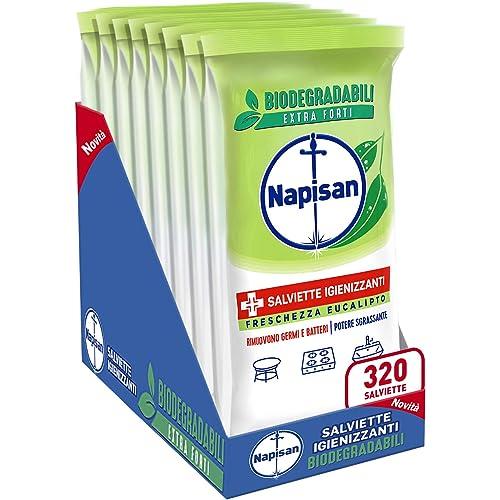 Napisan, 320 Salviette Igienizzanti, Multisuperfici e Biodegradabili, 8 Confezioni da 40 Pezzi, Freschezza Eucalipto