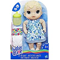 Baby Alive Lil' Sips Baby Blonde Hair Doll that Drinks, Wets, with Diaper & Bottle, for Kids Ages 3 Years & Up